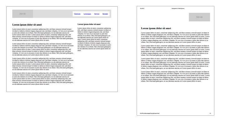 Links die Browseransicht, rechts optimiert für den Druck