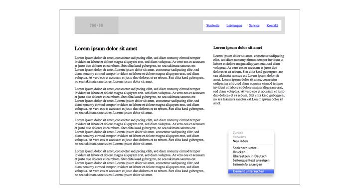 Mit Entwicklertool im Browser Element untersuchen