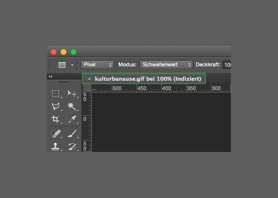 Exemplarische Darstellung des Tabs in Photoshop mit dem Hinweis auf ein indiziertes Bild