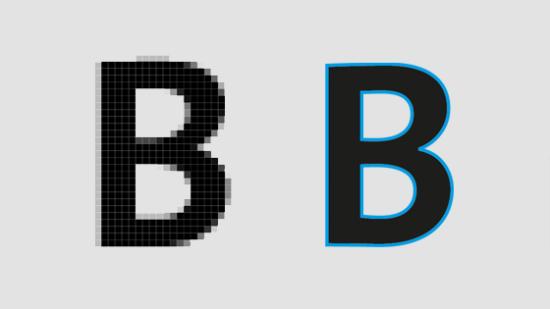 Unterschied Bitmap- und Vektorschrift