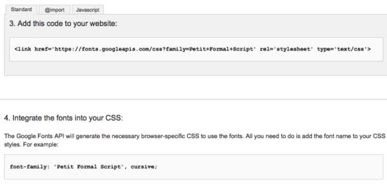 Google Fonts liefert den notwendigen Code