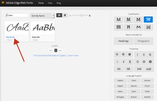 Auswahl einer Schreibschrift bei Adobe Edge Web Fonts