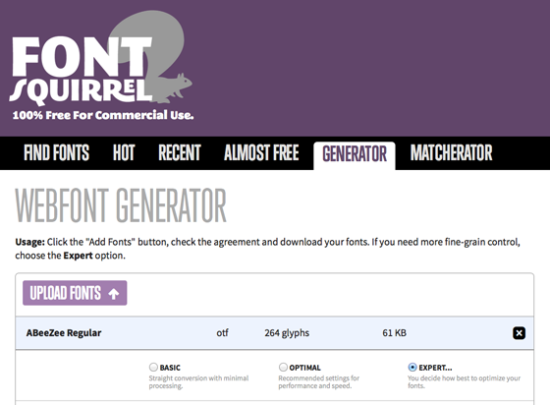 Webfonts selbst erstellen mit Webfont Generator