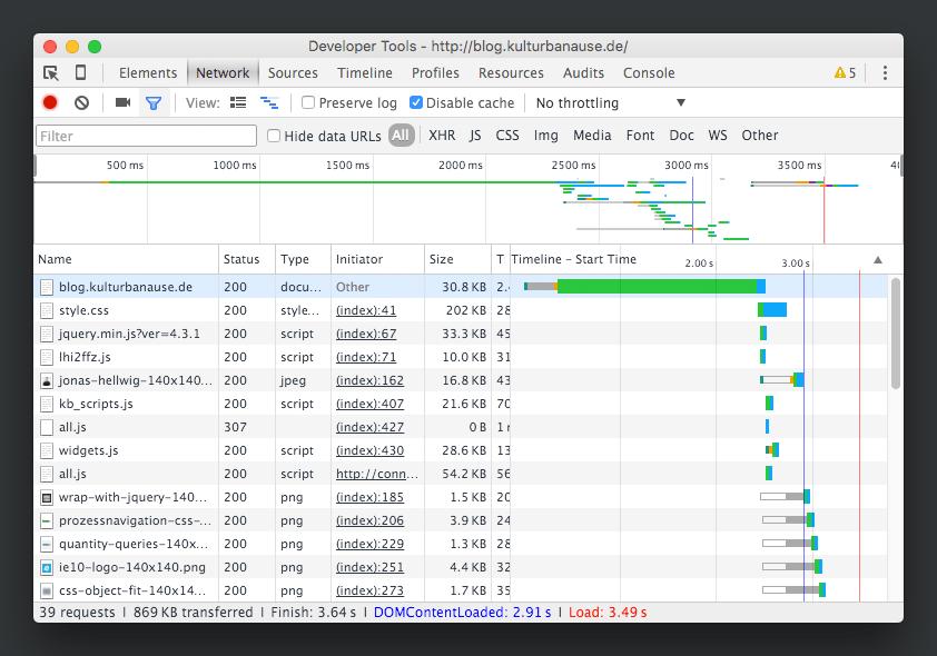 Mit Hilfe eines Developer Tools lassen sich aktuelle Angaben zum Projekt ermitteln - Google Chrome Developer Tool