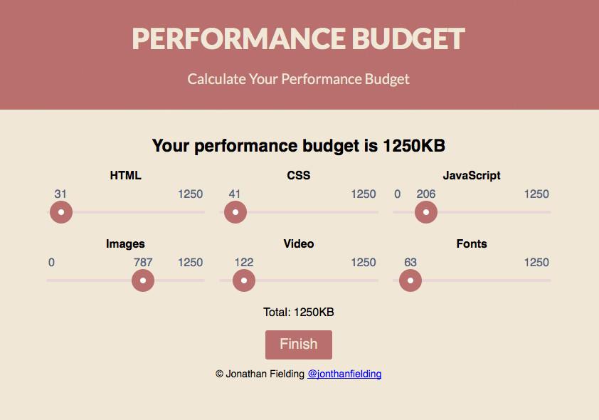 Screenshot eines Online-Tools zur Bestimmung eines Performance Budgets - www.performancebudget.io