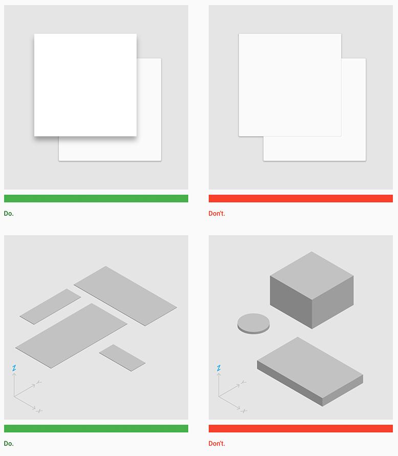 Richtige und falsche Beispiele aus der Guideline von Material Design