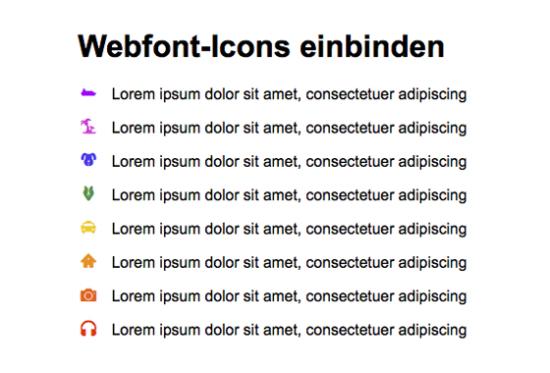 Webfont-Icons werden mit @font-face eingebettet
