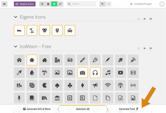 Die Auswahl mit eigenen Icons kann ergänzt werden mit denen aus dem IcoMoon-Set