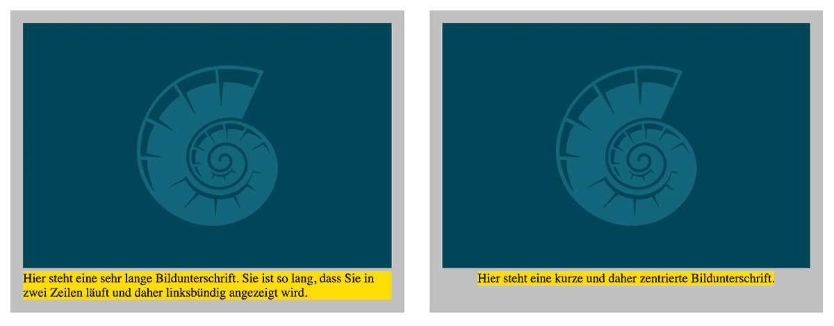 Die Bildunterschrift hat einen gelben Hintergrund erhalten, damit die Positionierung besser erkennbar ist