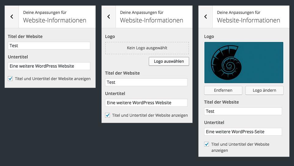 Links: Der Customizer ohne Logo-Upload, mitte: Mit Logo-Upload, rechts: mit hochgeladenem Logo