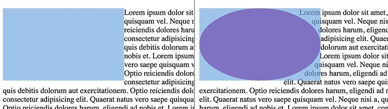 Links: Form ohne Shape. Rechts: Form mit elliptischem Shape