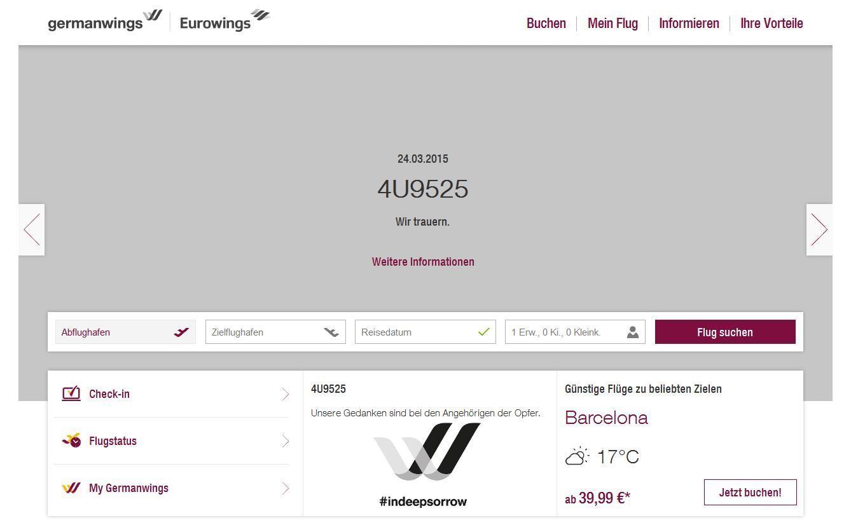 Dark Site von Eurowings nach dem Flugzeugabsturz am 24.03.2015. Quelle: http://engel-zimmermann.de/germanwings/