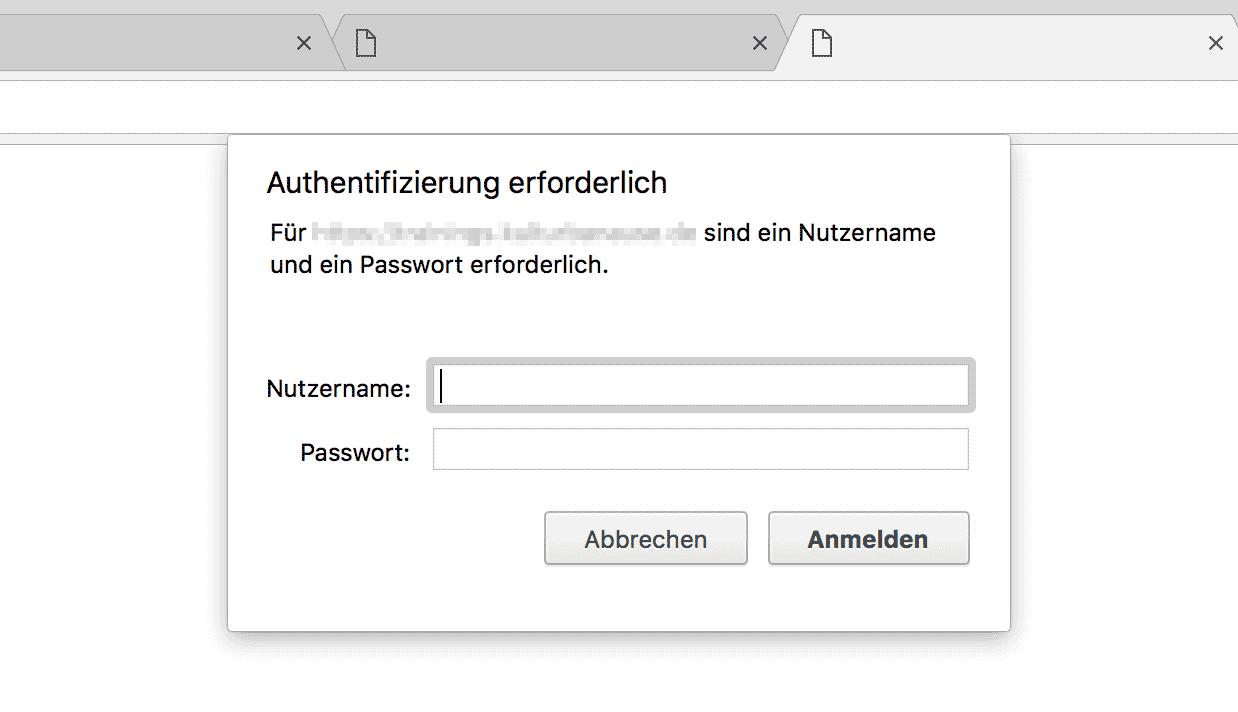 Anmeldemaske bei einem htpasswort-Schutz in Google Chrome