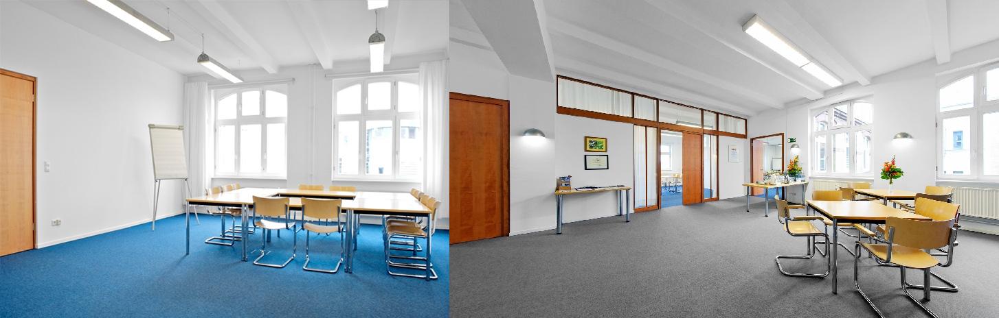 Fotos des Seminarraums in der Weiberwirtschaft Berlin. Fotos: Weiberwirtschaft