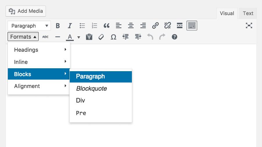 TinyMCE-Editor mit Formaten