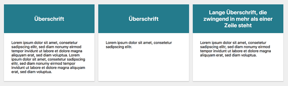 Beispiel-Layout mit drei »Card-Elementen«, jeweils mit farbigem Header und weißem Inhaltsbereich