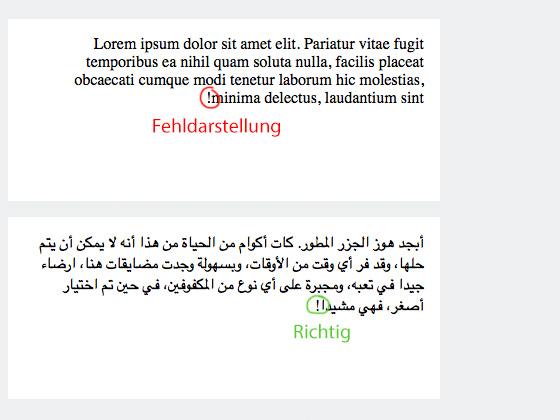 Leserichtung von rechts nach links mit CSS »direction:rtl«