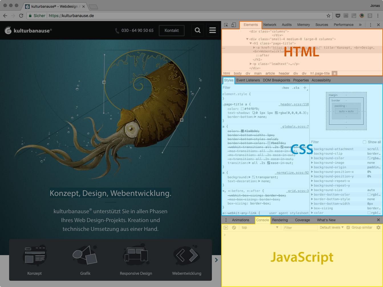 Screenshot der geöffneten DevTools mit den Bereichen zum Editieren von HTML, CSS und JavaScript