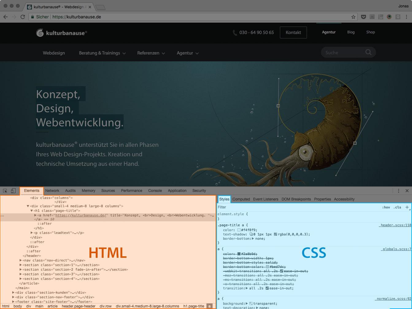 Screenshot der DevTools mit unten positioniertem Dock und hervorgehobenen Bereichen für HTML und CSS
