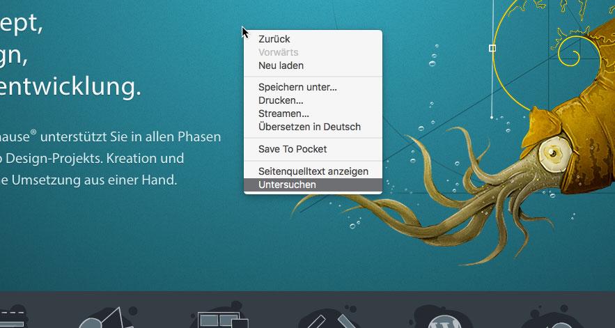Screenshot von kulturbanause.de mit eingeblendetem Kontextmenü zum Öffnen der DevTools