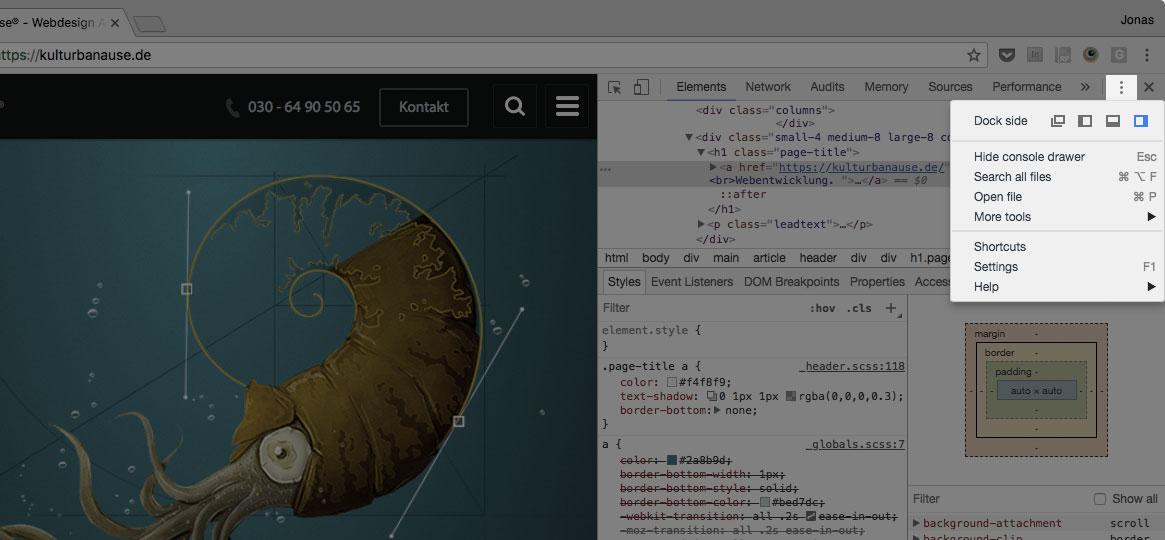 Screenshot der DevTools mit geöffneten Optionen
