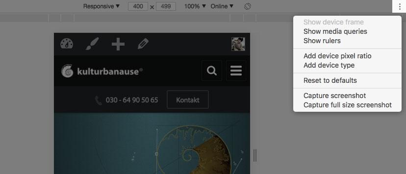 Screenshot der RWD-Tools in Chrome mit eingeblendeten Optionen