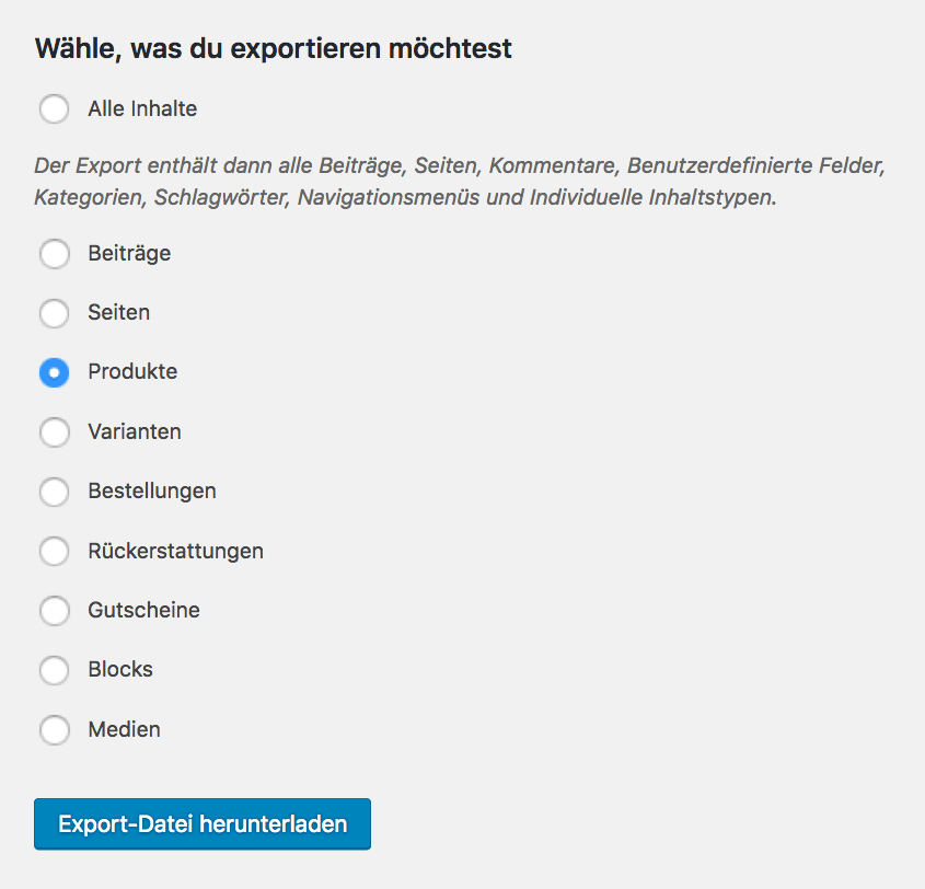 Screenshot der WordPress Export-Funktion im Backend