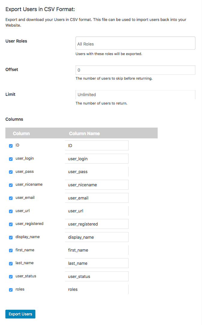 Screenshot »Import Export WordPress Users«-Plugin