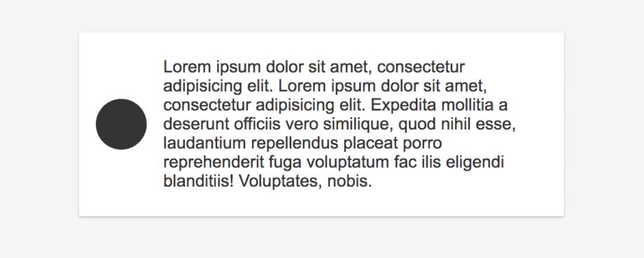 Mit Flexbox gestalteter Teaser. Links das Icon, rechts der Text – alles vertikal zentriert