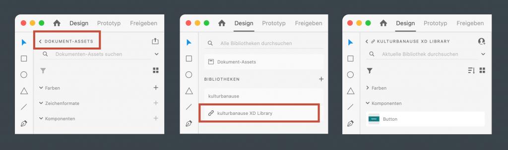 Auswahl einer Bibliothek in Adobe XD