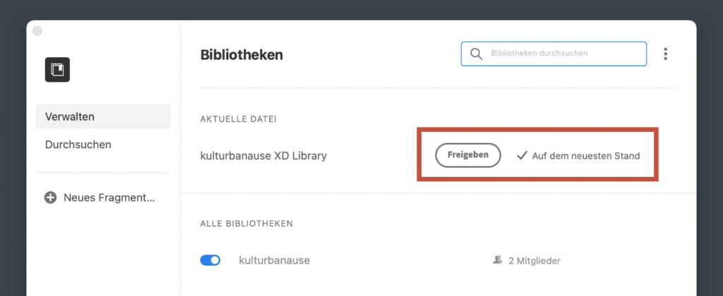 Erzeugung einer Bibliothek aus einem XD-Dokument