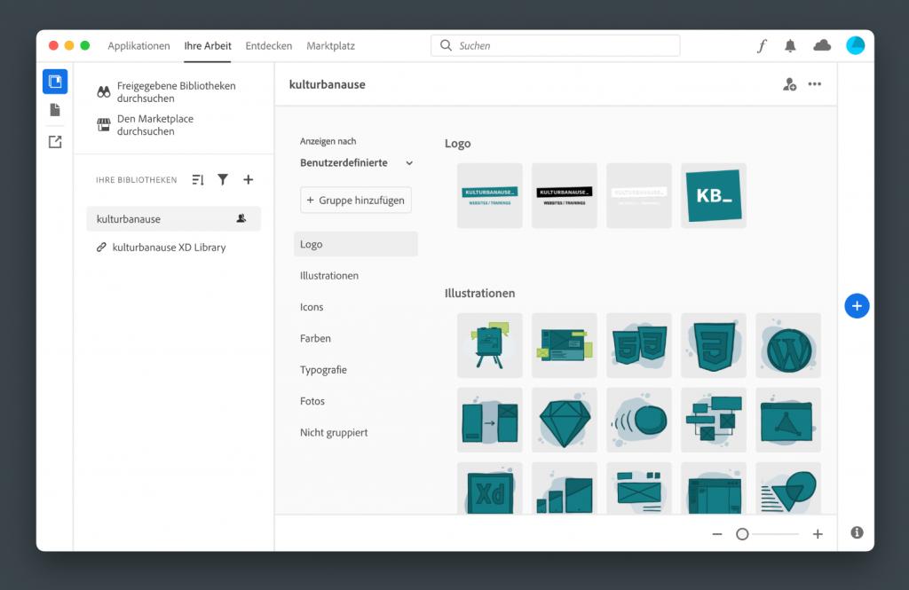 Creative Cloud App mit ausgewählter CC-Bibliothek.