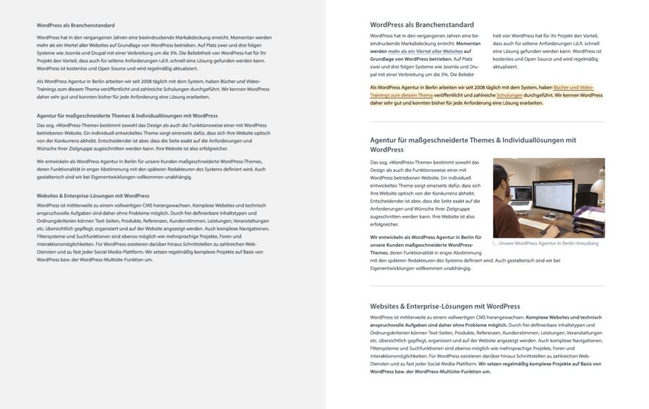 Identischer Text-Inhalt unterschiedlich Strukturiert und gelayoutet. Links eine Textwüste und rechts ein bebildeterter Inhaltsbereich mit Hervorhebungen.