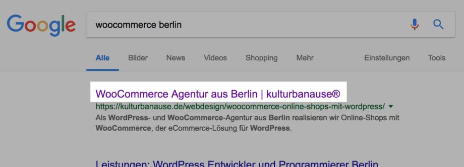 Beispiel für die Darstellung des Seitentitels bei Google