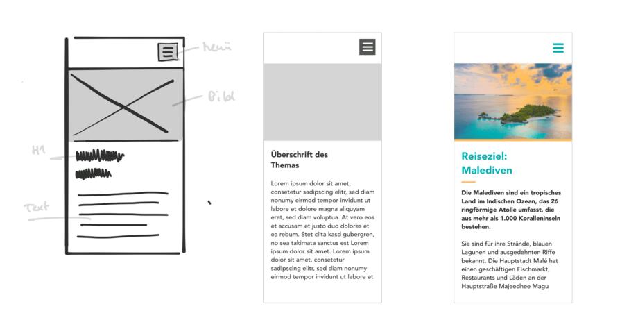Skizze, Low-Fi- und Hi-Fi-Darstellung im direkten Vergleich