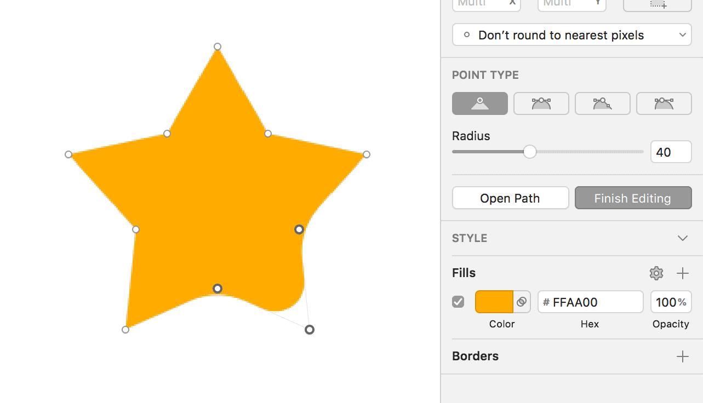 Stern mit drei abgerundeten Ecken