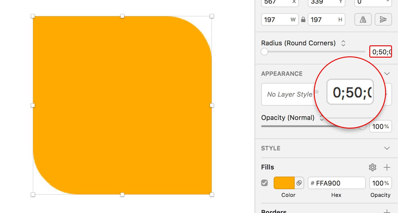 Oranges Objekt mit zwei abgerundeten und zwei nicht abgerundeten Eckenx