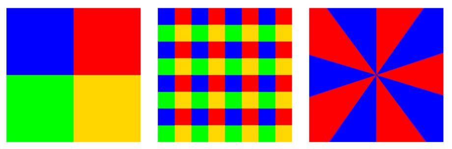 Screenshot der mit conic gradient erzeugten Muster-Effekte