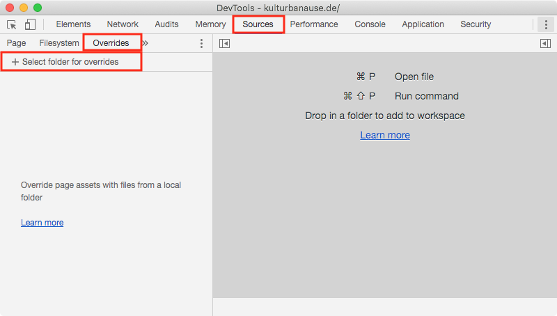 Abschnitt »Sources« mit Unterabschnitt »Overrides« in den Chrome DevTools