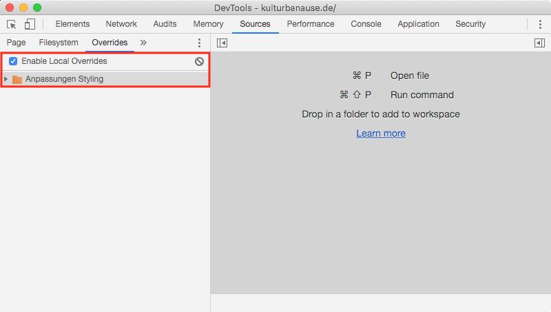 Aktivierte Overrides für den Ordner »Anpassungen Styling« auf dem Desktop