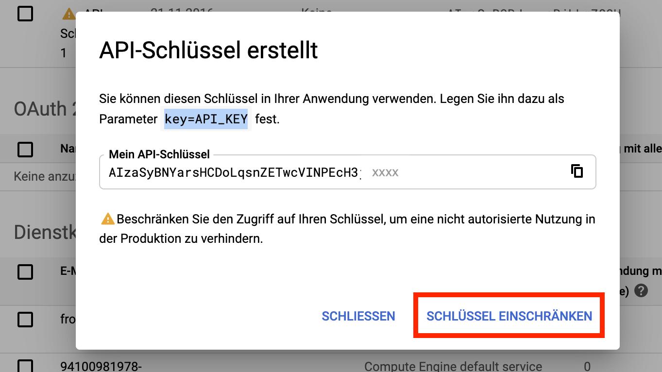 Screenshot API-Schlüssel erstellt