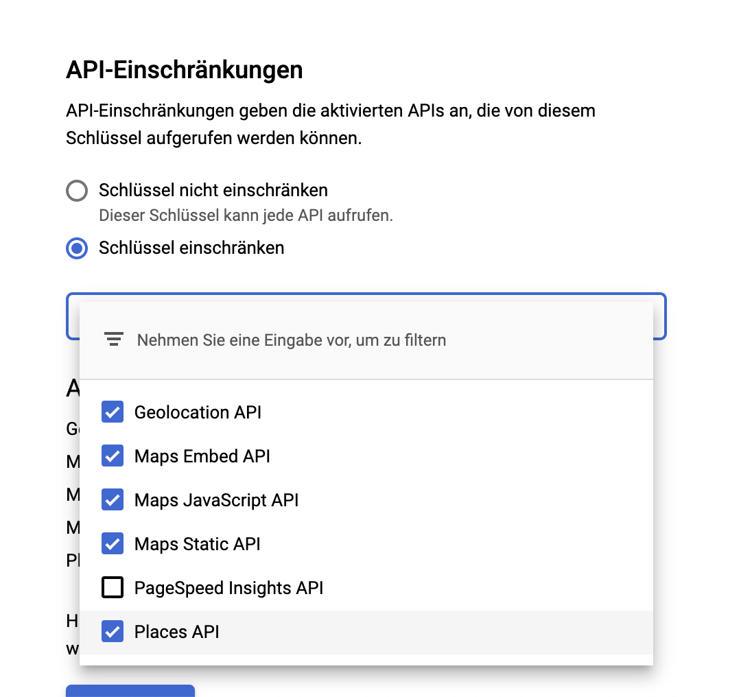 Screenshot API-Einschränkung