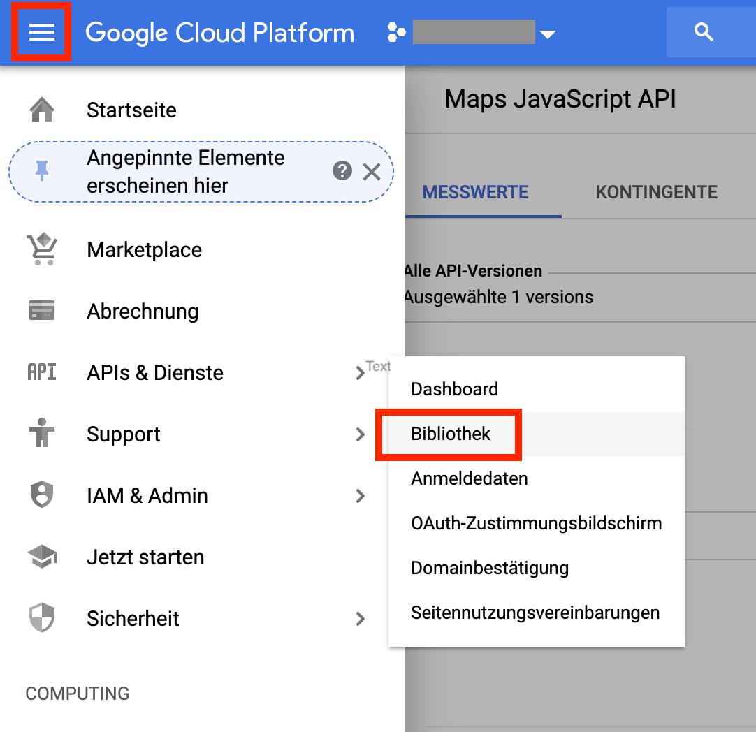 Screenshot API aktivieren - Schritt 01
