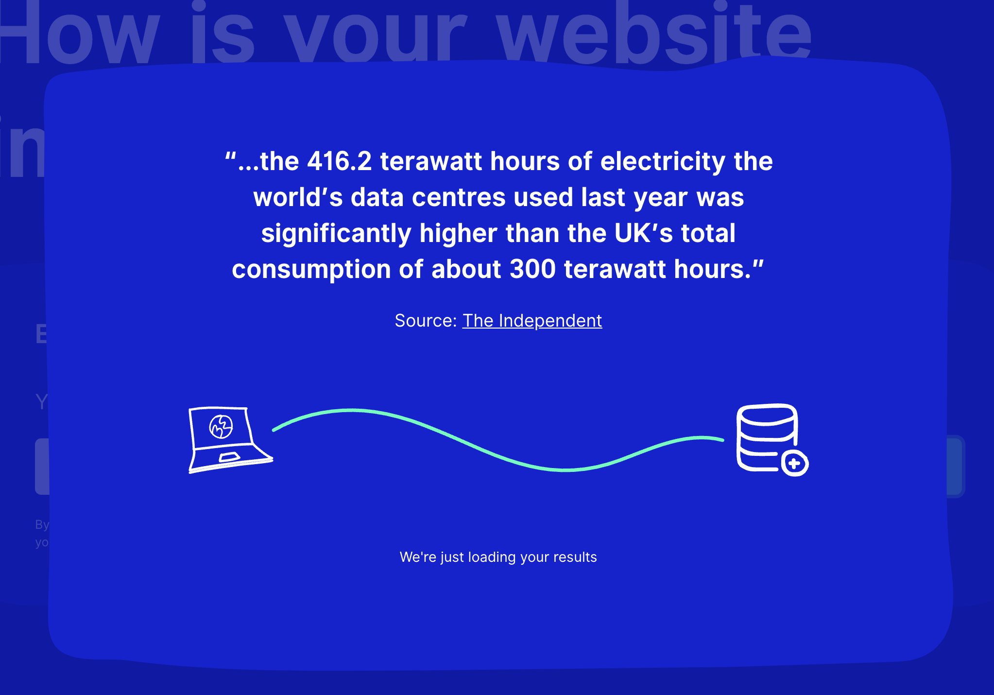 Screenshot: Website Carbon Calculator zeigt Infirmationen während der Verarbeitung der Anfrage