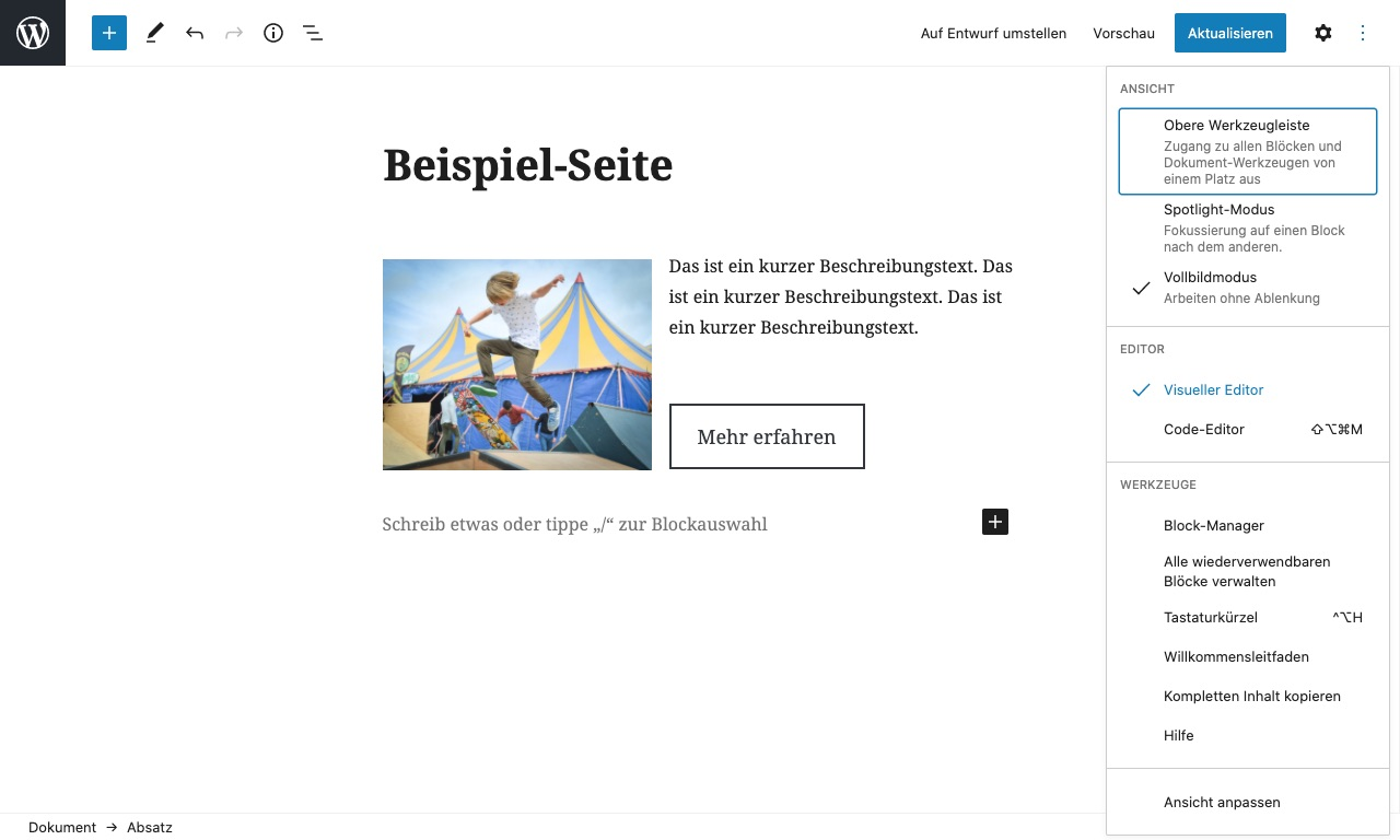 WordPress Block-Editor (Gutenberg) Visueller Editor Teaser Layout