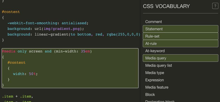 Screenshot des CSS Vocabulary