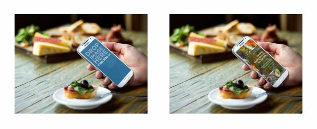 Vorher/Nachher-Vergleich eines typischen Mockup-Templates: Es wird ein Smartphone in der Hand gehalten. Im Hintergrund sind Speisen zu sehen.