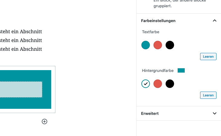 Angepasste Farbpalette im WordPress-Block-Editor