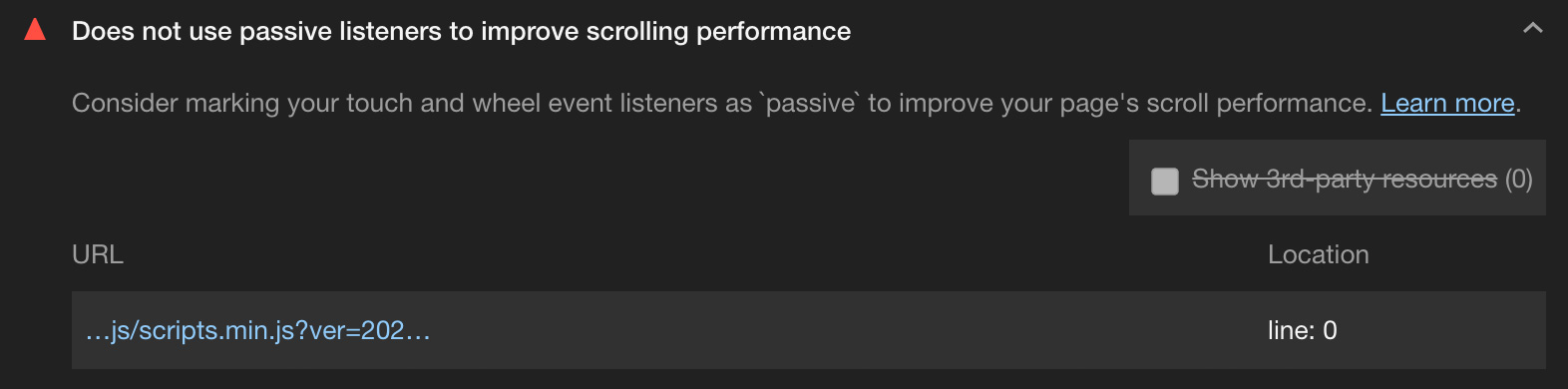 Lighthouse Performance Test Abschnitt: Does not use passive listeners to improve scrolling performance