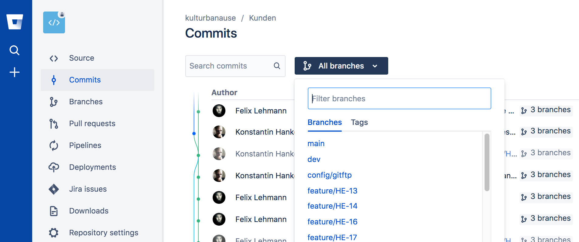 Screenshot der Branch-Struktur in Bitbucket